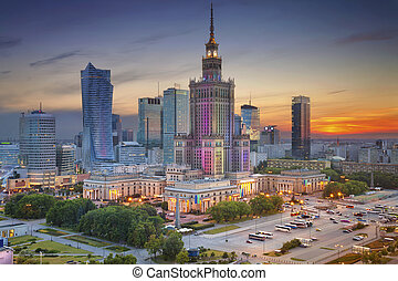 Image of Warsaw, Poland during twilight blue hour.