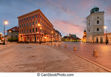Warsaw kingsroad at sunrise in Poland