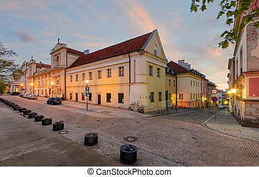 Warsaw kingsroad at sunset in Poland