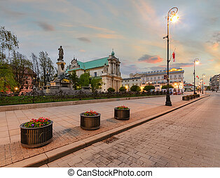 Warsaw kingsroad in the evening in Poland