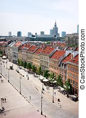 Warsaw - Krakow Suburb avenue - Warsaw downtown, distant...