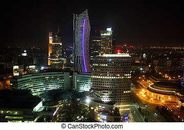 Warsaw night view on skyscrapers, capital of Poland