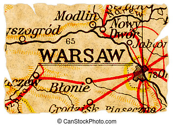 Warsaw or Warszawa, Poland on an old torn map from 1949, isolated. Part of the old map series.