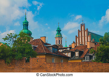 Warsaw Old Town buildings and churchs.