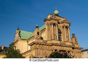 Warsaw, Poland - Carmelite church at famous Krakowskie Przedmiescie street. Neoclassical architecture.