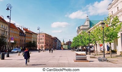 Warsaw, Poland circa April 2020: Empty streets of Old Town during lockdown caused by pandemic of coronavirus