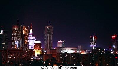 Warsaw Poland city at night.