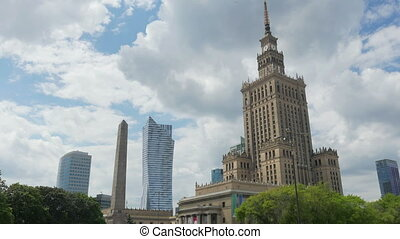 warsaw, poland, culture science palace, stalin building, zoom in, 4k