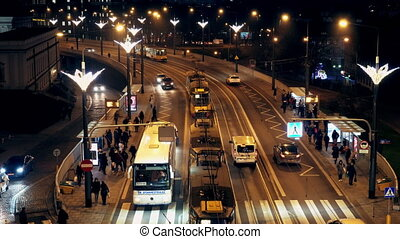 Movement in the evening time of public transport in the city...