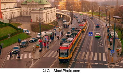 The movement of public transport in the city of Warsaw -...