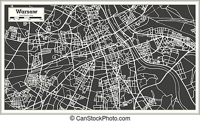 Warsaw Poland Map in Retro Style. Vector Illustration....