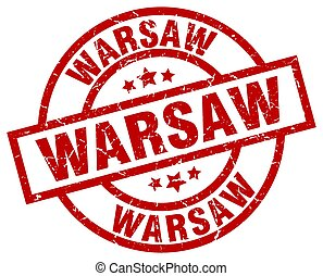 Warsaw red round grunge stamp