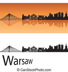 Warsaw skyline in orange background in editable vector file