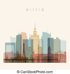 Warsaw, skyline detailed silhouette. Transparent style....