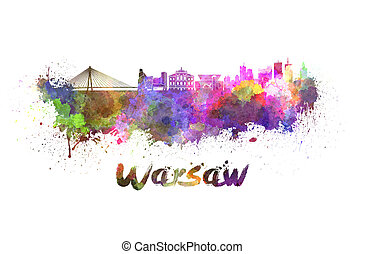 Warsaw skyline in watercolor splatters with clipping path