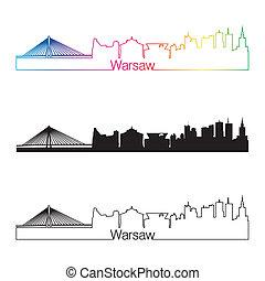 Warsaw skyline linear style with rainbow in editable vector...