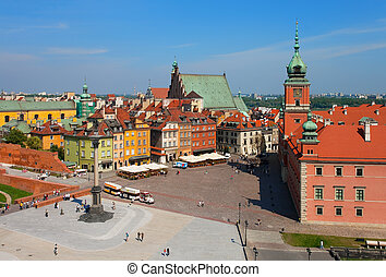 warschau, kasteel, plein, polen