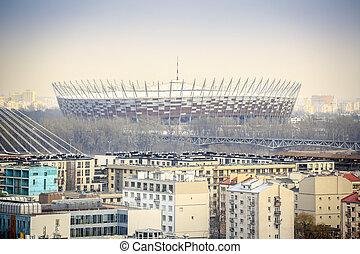 warschau, siedlungen, polen, modern, stadion, national