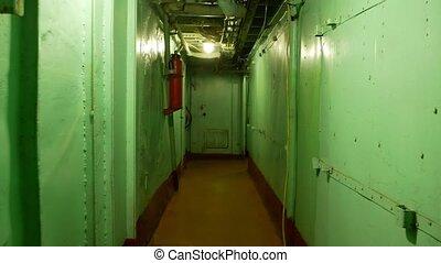 warship., copie, couloir, espace vide, métal, long