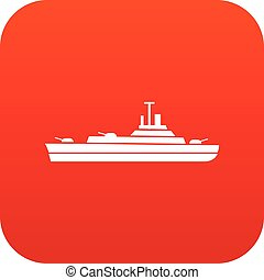Warship icon digital red