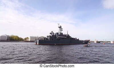 Warship On the Neva River in St. Petersburg