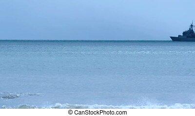 Warship patrolling in the ocean - MANGONUI-SEP 28:Frigate...