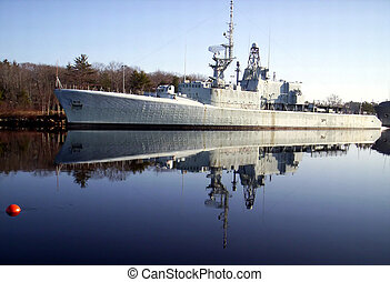 warship reflection the H M C S Fraser - warship reflection,...