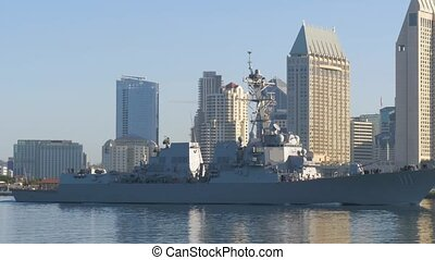 Warship sails in San Diego City