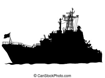 Warship - Silhouette of a large warship on a white...