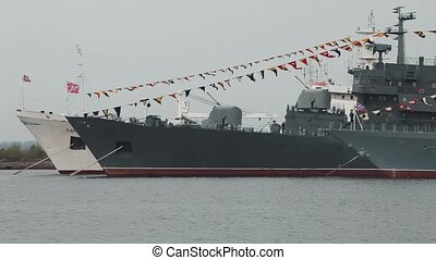 Warships at anchorage celebration Naval Fleet of Russia