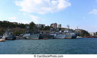 Warships of the Russian Navy Natya-class minesweepers on the waterfront of the city. The Soviet designation was Project 266M Akvamarin