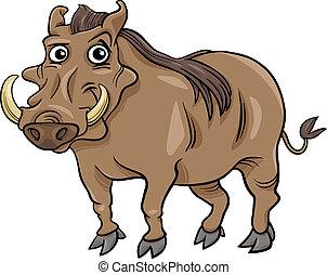 warthog, animální, karikatura, ilustrace