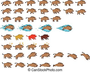 Warthog Game Sprite - Vector Illustration of Warthog Cartoon...