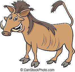 warthog wild African animal cartoon illustration