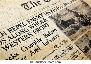 Wartime Newspaper - Melbourne, Australia - January 14, 2011:...