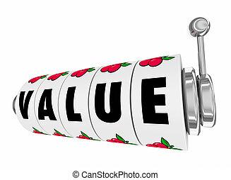wartość, automat, koła, tarcze, słowo, 3d, ilustracja