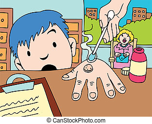 Warts - Child in the doctor\'s office with his mom being...