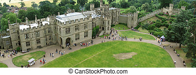 Warwick castle - View of old Warwick castle (panoramic...