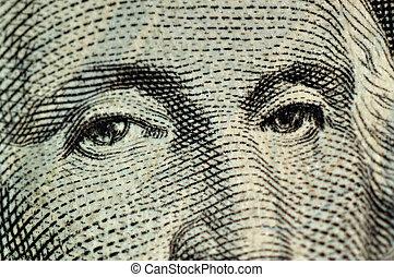 Wary Eyes Of George - Macro of the eyes of George Washington...