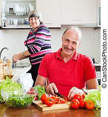 warzywa, świeży, szczęśliwy, dojrzała para