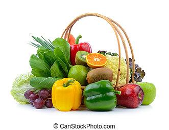 warzywa, białe tło, owoce