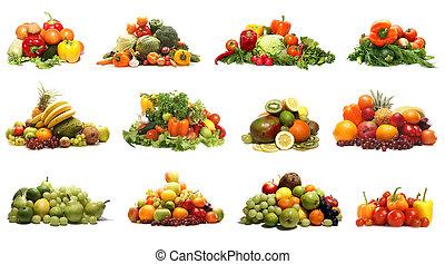 warzywa, biały, odizolowany, owoce