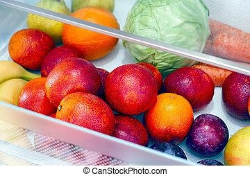 warzywa, drawer., lodówka, owoce