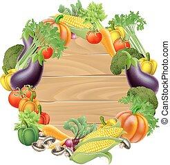 warzywa, drewniany, znak