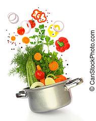 warzywa, gotowanie, nadchodzący, świeży, garnek, poza
