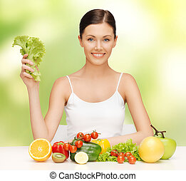 warzywa, kobieta, owoce