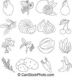 warzywa, kolorowanie, komplet, book., owoce