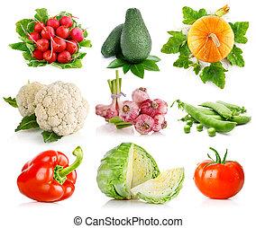 warzywa, komplet, zielone listowie