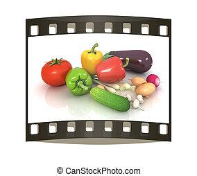 warzywa, leaves., zielony, pas, świeży, film