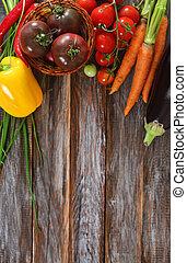 warzywa, nieruchome życie, w, drewniany, tło